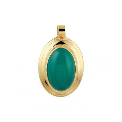 Mooie edelsteen hanger met agaat 14 krt goud