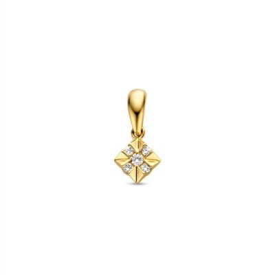 Mooie geelgouden hanger met kruis van diamanten