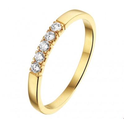 Mooie gouden ring met zirkonia steen