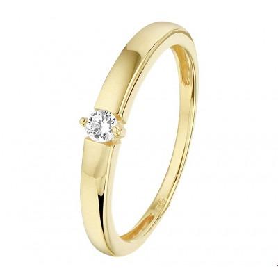 Mooie ring goud met zirkonia steen