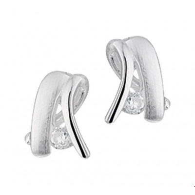 Mooie zilveren oorbellen met zirkonia 7 mm breed