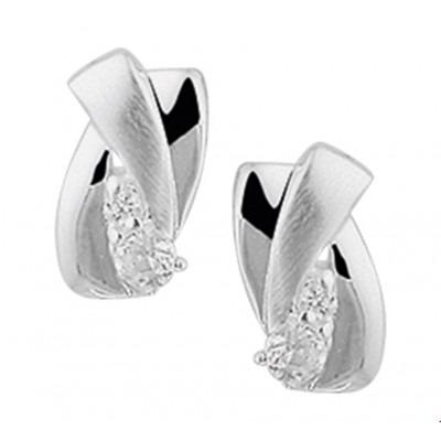 Mooie zilveren oorknopjes met zirkonia 6 mm breed