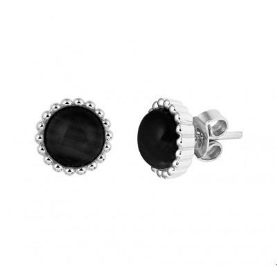 Onyx oorbellen van zilver