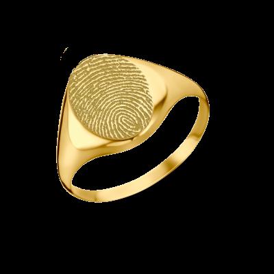 Ovalen zegelring met vingerafdruk