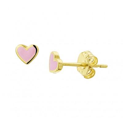 Prachtige gouden kinderoorbellen roze hart