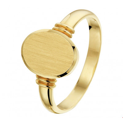 Prachtige zegelring dames 14 karaat goud massief