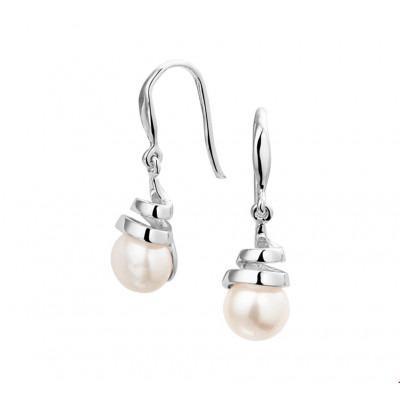 Prachtige zilveren oorbellen met parel en 27 mm hoog