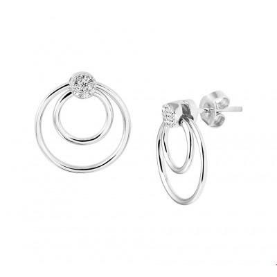 Prachtige zilveren oorbellen met zirkonia en 18 mm hoog