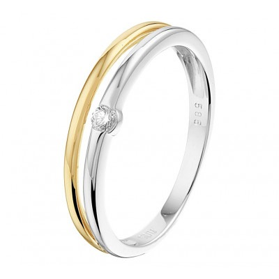 Ring bicolor met diamant 4 mm breed