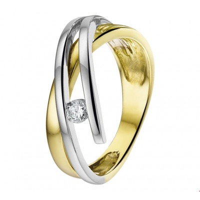 Ring bicolor met zirkonia 9 mm breed