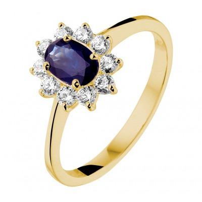 Ring met edelsteen goud saffier