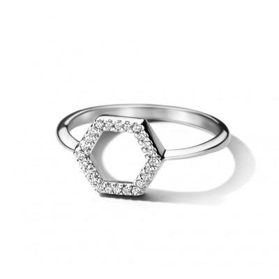 Ring zilver zeshoek met zirkonia