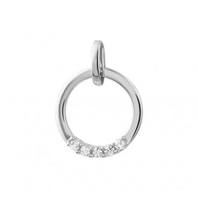 Ronde witgouden hanger met diamant