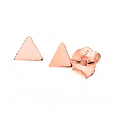 Rosé gouden oorbellen driehoek