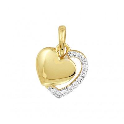 Schitterende gouden dubbele hart hanger met zirkonia
