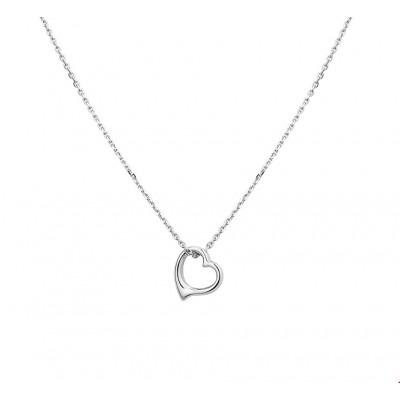 Sierlijk open zilveren ketting met hartje 41-45 cm