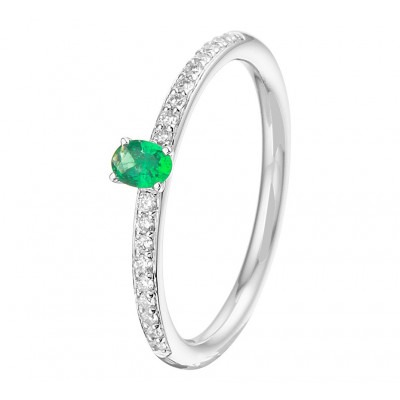 Smaragd edelsteen ring witgoud