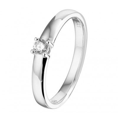 Solitair ring witgoud met diamant