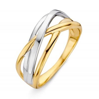 Stijlvolle bicolor ring 14 karaat goud