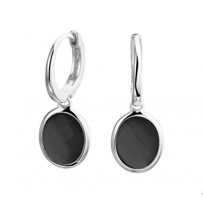 Stijlvolle gerhodineerd zilveren oorringen onyx hangers