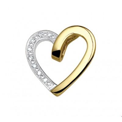 Stijlvolle gouden hartjes hanger 16 mm diamant