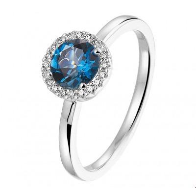 Topaas met diamant edelsteen ring witgoud
