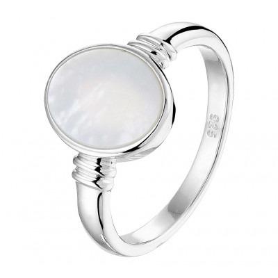 Trendy zegelring parelmoer zilver voor dames