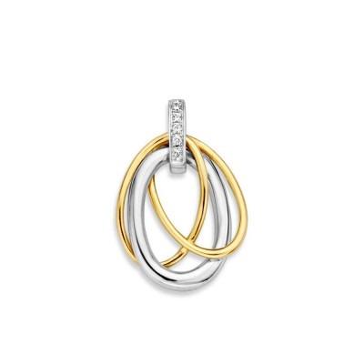 Wit en geelgouden hanger met drie ovalen en zirkonia