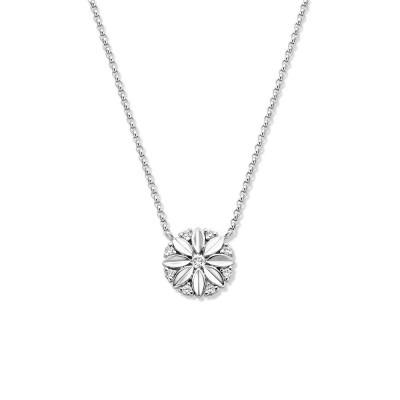 Witgouden collier met bloemvormige hanger diamant