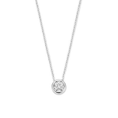 Witgouden collier met fijne schakel en diamanthanger