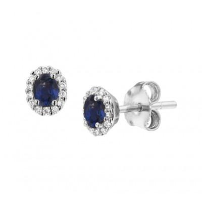 Witgouden edelsteen oorbellen met saffier en diamant