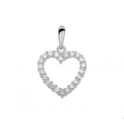 Witgouden hanger hart 13 mm zirkonia