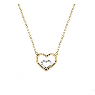 Witgouden hartje in gouden hart met ketting 40-44 cm