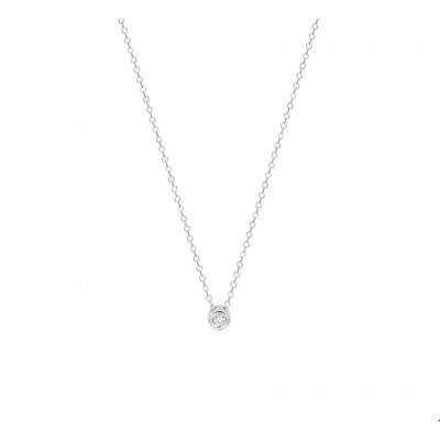 Witgouden ketting met diamant 41-43-45 cm draaglengte