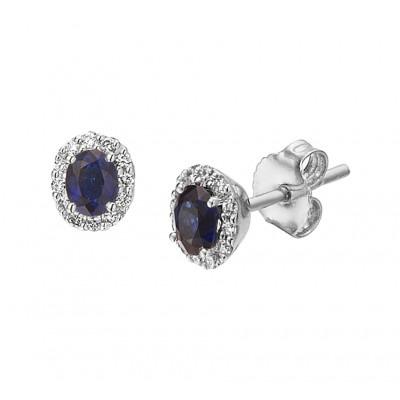 Witgouden oorknopjes met saffier en diverse diamanten