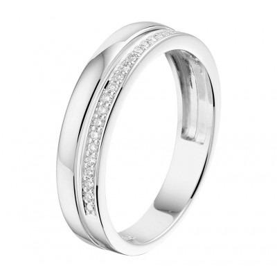 Witgouden ring met diamant rij