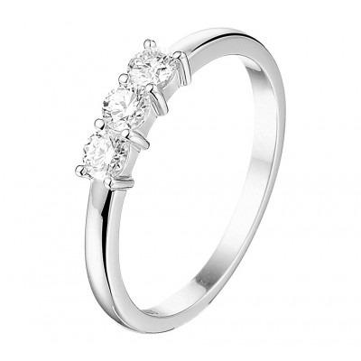 Witgouden ring met drie diamanten