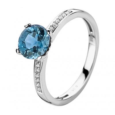 Witgouden ring met edelsteen topaas diamant 7 mm