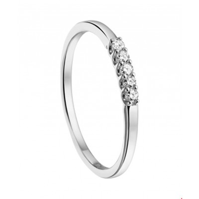 Witgouden ring met vijf diamanten
