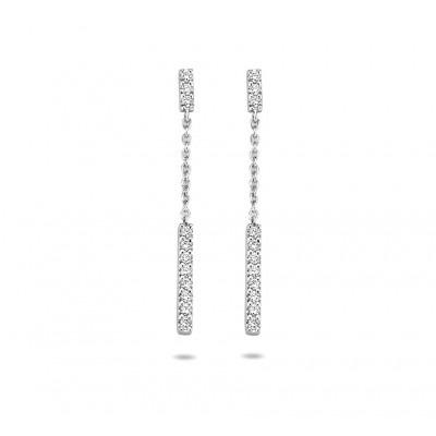 Witgouden staafjes oorbellen met diamant