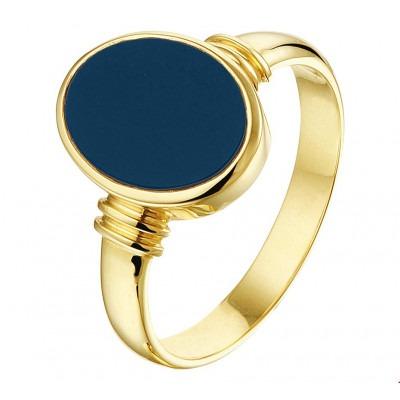 Zegelring goud dames blauwe steen massief