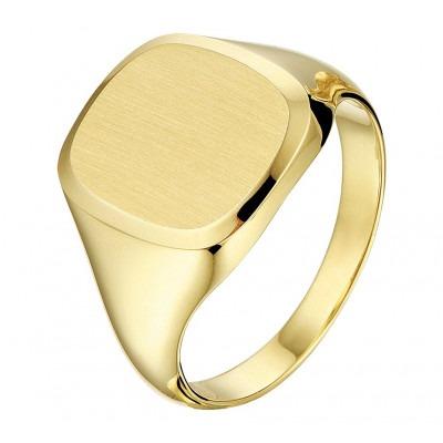 Zegelring heren goud effen oppervlak massief
