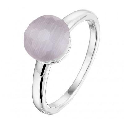 Zilveren edelsteen ring met grijskleurig kattenoog