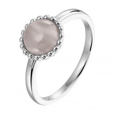 Zilveren edelsteen ring met kattenoog
