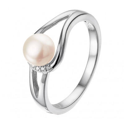 Zilveren edelsteen ring met parel en zirkonia