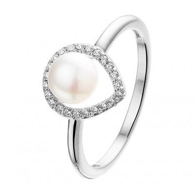 Zilveren edelsteen ring met zoetwaterparel