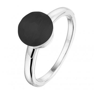 Zilveren edelsteen ring met zwart kattenoog