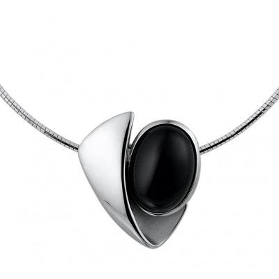 Zilveren edelstenen ketting uitgevoerd met onyx