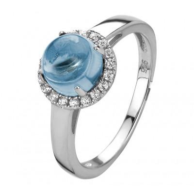 Zilveren edelstenen ring met topaas en zirkonia