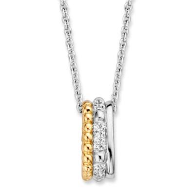 Zilveren hanger goud en zirkonia met gerhodineerd collier
